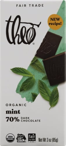 Theo Chocolate Organic Fair Trade 70% Dark Chocolate Mint Bar Perspective: front