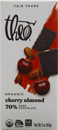 Theo Organic Cherry & Almond Dark Chocolate Bar Perspective: front