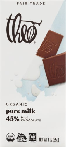 Theo Organic Milk Chocolate Bar Perspective: front