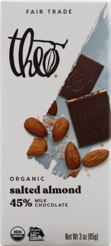 Theo Salted Almond 45% Milk Chocolate Bar Perspective: front
