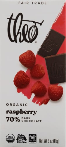 Theo Chocolate Raspberry 70% Dark Chocolate Perspective: front