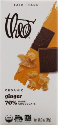Theo Chocolate Ginger 70% Dark Chocolate Bar Perspective: front
