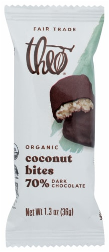 Theo Classic Coconut Bites With Dark Chocolate Bar Perspective: front