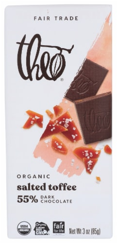 Theo Organic Salted Toffee Dark Chocolate Perspective: front