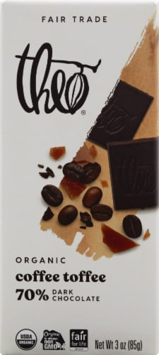 Theo Organic Fair Trade Coffee Toffee Dark Chocolate Perspective: front