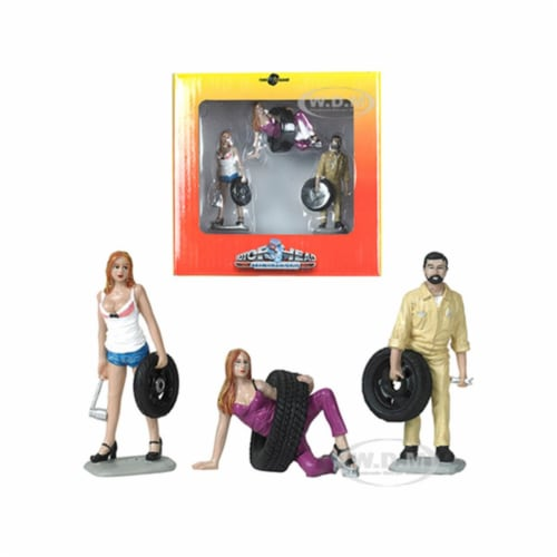 Motorhead Miniatures MH774 3 in. 1-24 Scale Val, Meg & Gary Tire Brigade Figurine Set - 3 Pie Perspective: front