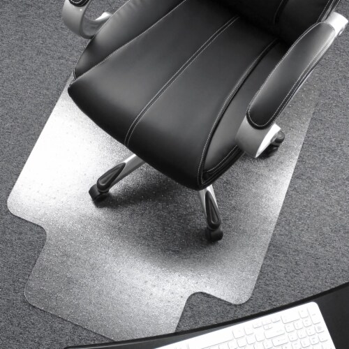 Floortex Solutions Ultimat 48 x 53 Inch Clear Office Floor Chair Mat with Lip Perspective: front