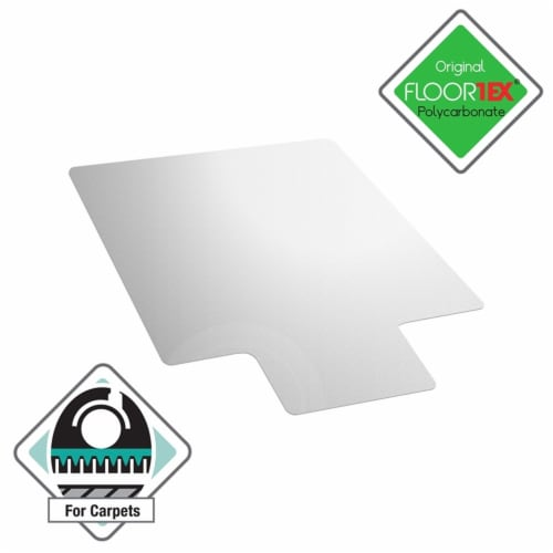 Floortex Polycarbonate Lipped Chair Mat for Carpets Clear Size 35 x 47 inch Perspective: front