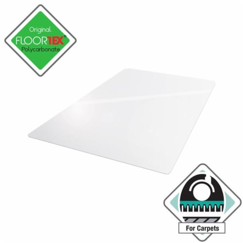 Floortex Solutions FR1115015023ER Clear Floor Office Chair Mat, 60 x 60 Inch Perspective: front