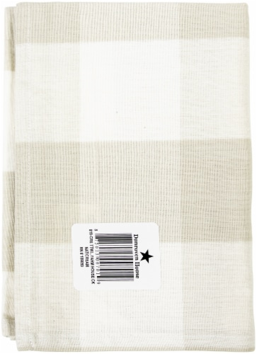 Dunroven House OR819-CRE Large Farmhouse Check Towel, Wheat & Cream - Set of 3 Perspective: front