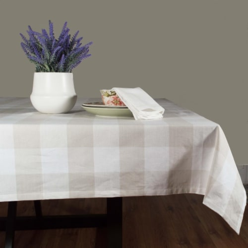 Dunroven House RK819-NAT 54 in. Farmhouse Check Square Tablecloth, Wheat & Cream Perspective: front