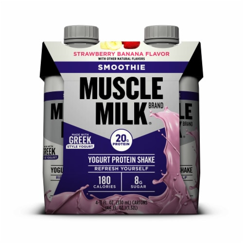 Muscle Milk Strawberry Banana Smoothie Protein Shake (3 Pack) Perspective: front