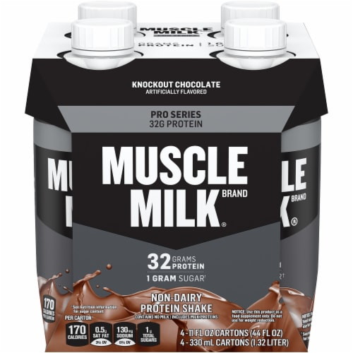 Muscle Milk Protein Shakes Pro Series 32g Chocolate Mega 4 Count Perspective: front