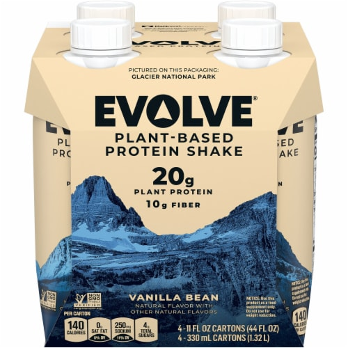 Evolve Protein Shakes Vanilla Plant Based Protein Shake Perspective: front