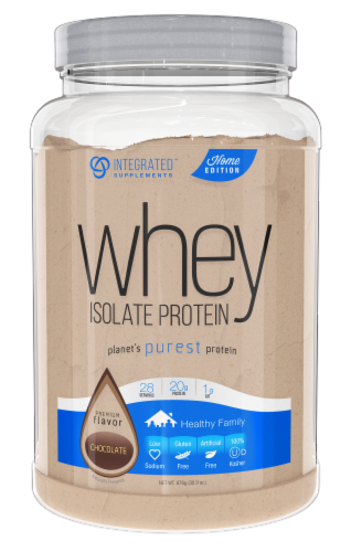 Integrated Supplements Whey Isolate Chocolate Protein Powder Perspective: front