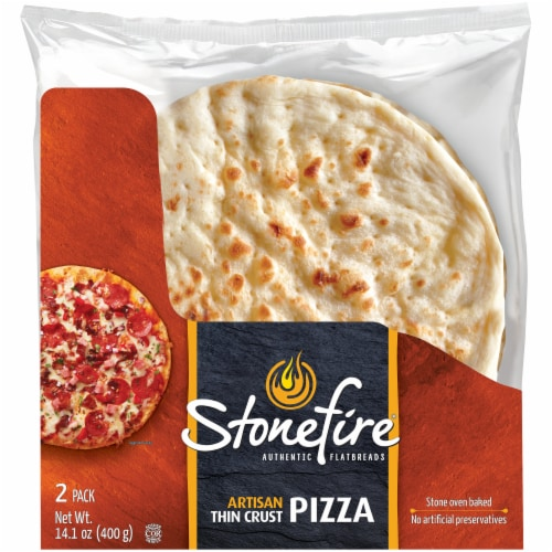 Stonefire Artisan Flatbread Thin Pizza Crusts 2 Count Perspective: front