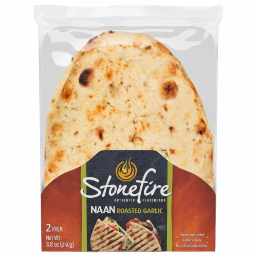 Stonefire Roasted Garlic Naan Flatbreads 2 Count Perspective: front
