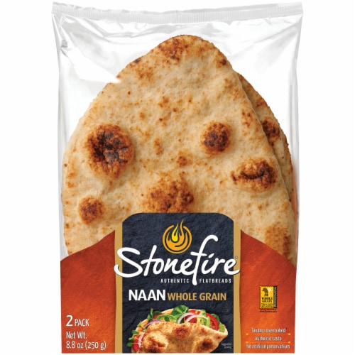 Stonefire Naan Whole Grain Flatbread 2 Count Perspective: front
