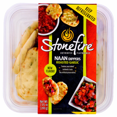 Stonefire Roasted Garlic Naan Dippers Perspective: front