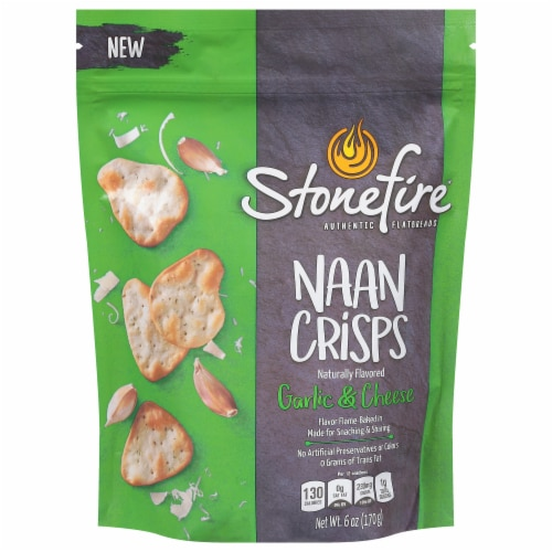 Stonefire Authentic Flatbread Garlic & Cheese Naan Crisps Perspective: front