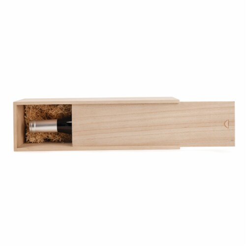 1-Bottle Wooden Wine Box by Twine® Perspective: front