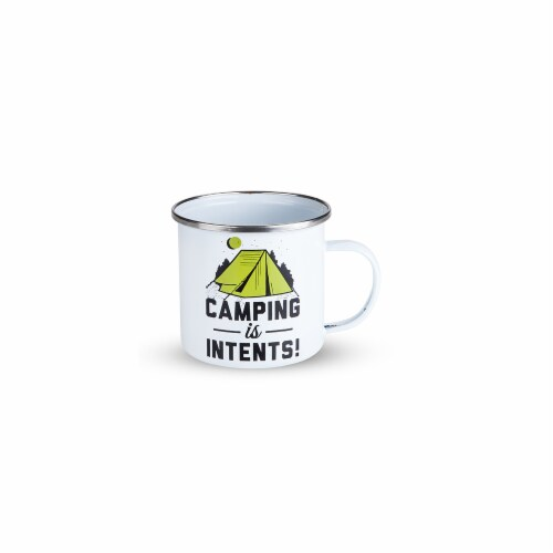 Foster & Rye 3858 Camping is Intents Enamel Mug, White Perspective: front