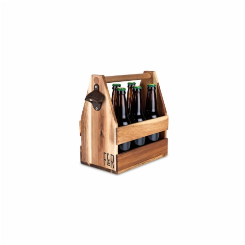 Foster & Rye Acacia Wood Beer Caddy Perspective: front