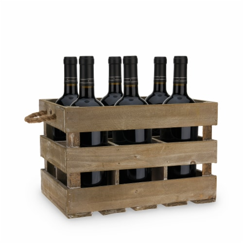 Wooden 6-Bottle Crate by Twine® Perspective: front