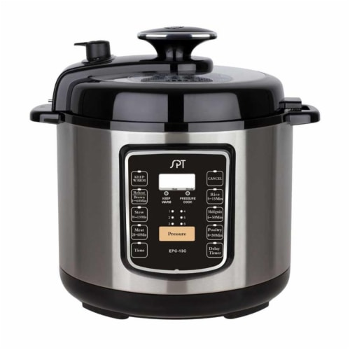 Sunpentown EPC-13C 6.5-Quart Stainless Steel Electric Pressure Cooker with Quick Release Butt Perspective: front