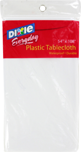 Dixie Plastic Tablecloth - White Perspective: front