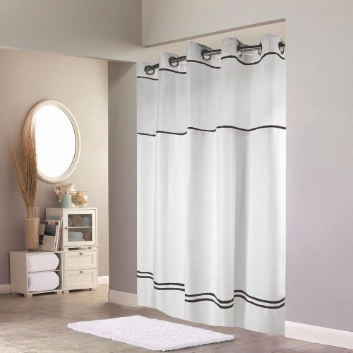 Hookless Shower Curtain,White/Black,Polyester HAWA HBH40MYS0110SL74 Perspective: front