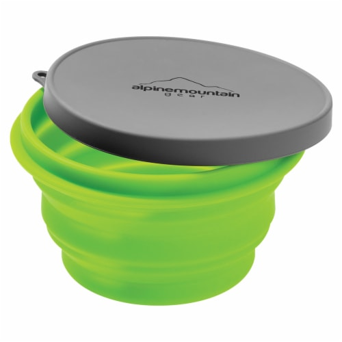 Alpine Mountain Gear Collapsible Container with Lid - Green/Gray Perspective: front