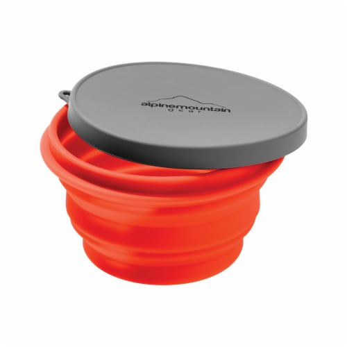 Alpine Mountain Gear Collapsible Container with Lid - Orange/Black Perspective: front