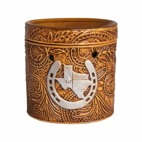 Scentsationals Texas Leather Embossed Full-Size Wax Warmer with 25 W Light Bulb Perspective: front
