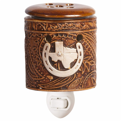 Scentsationals Home Fragrance Texas Leather Accent Wax Warmer with 15 Watt Light Bulb Perspective: front