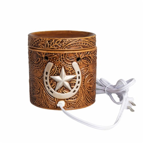 Scentsationals Home Fragrance Western Leather Emobossed Full-Size Wax Warmer with Light Bulb Perspective: front