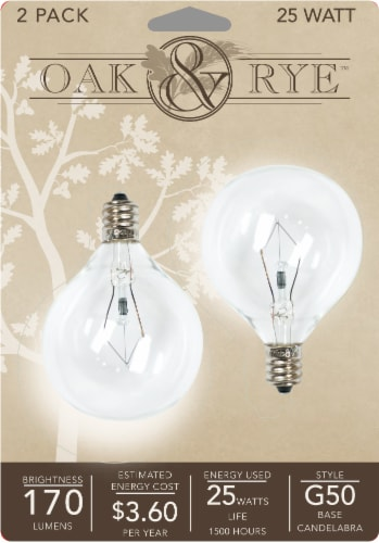 Oak & Rye 25-Watt G50 Light Bulbs - Clear Perspective: front