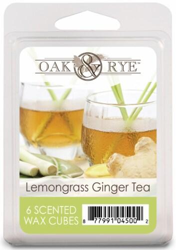 Oak & Rye Lemongrass Ginger Tea Wax Cubes 6 Pack Perspective: front