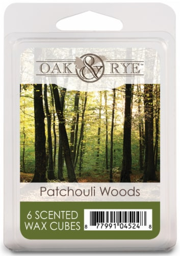 Oak & Rye Patchouli Woods Scented Wax Cubes - 6 Pack Perspective: front