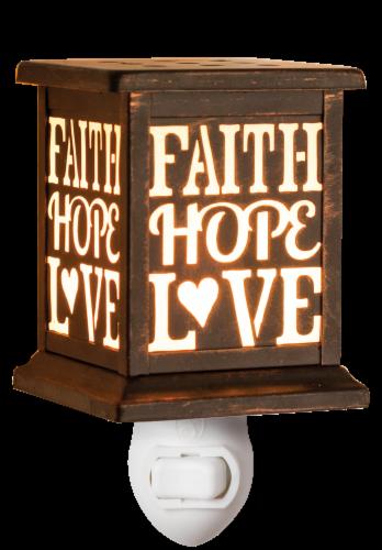 Oak & Rye Faith Hope Love Mini Wax Warmer - Brown - 4.25 x 3.75 x 5.75 Inch Perspective: front