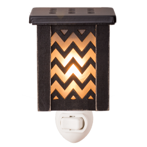 Oak & Rye Chevron Mini Wax Warmer - Brown Perspective: front
