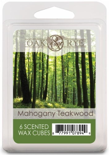 Oak & Rye Mahogany Teakwood Scented Wax Cubes Perspective: front