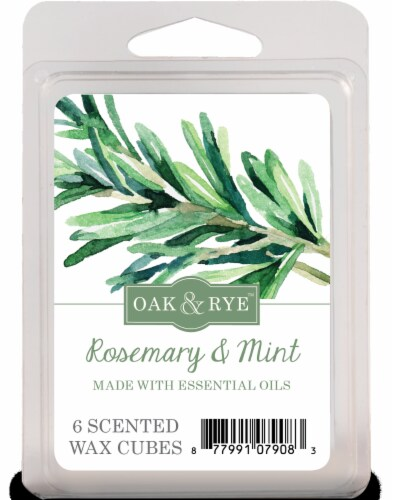 Oak & Rye Soul Searching Rosemary and Mint Wax Cubes - 6 pk - White Perspective: front