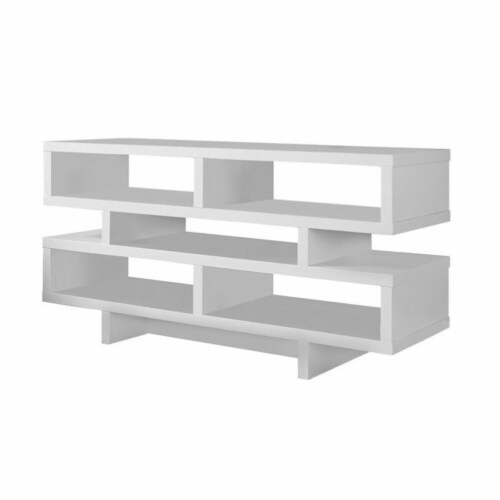 Monarch Hollow-Core 48  TV Console in White Perspective: front