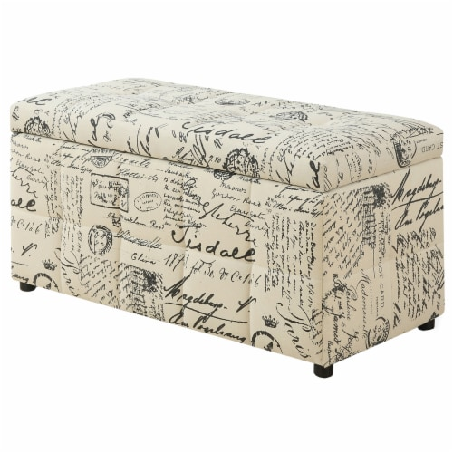 Monarch Vintage French Print Storage Ottoman in Beige Perspective: front