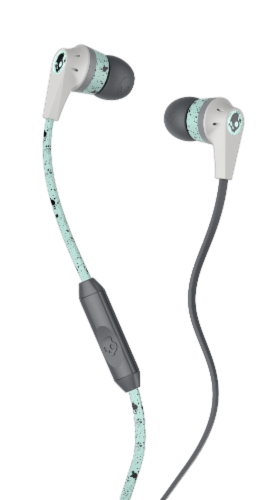 Skullcandy Ink'd Speckletacular In-Ear Headphones with Mic - Mint/Gray Perspective: front