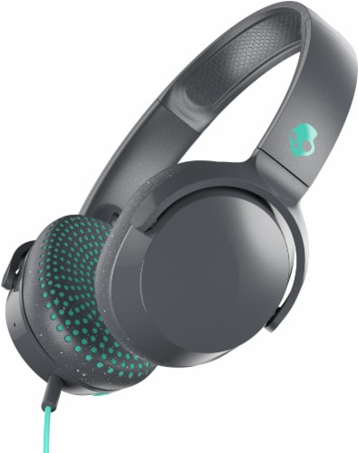 Skullcandy Riff Wired Headphones - Black/Mint Perspective: front