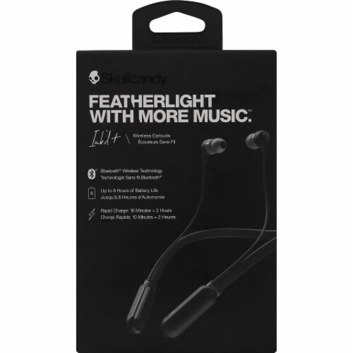 Skullcandy Ink'd Bluetooth Wireless Earbuds - Black Perspective: front
