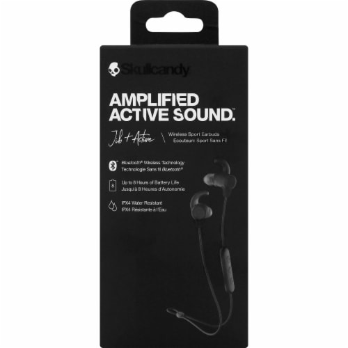Skullcandy Active Sound Jib Bluetooth Wireless Sport Earbuds - Black Perspective: front