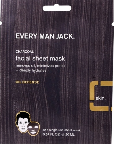 Every Man Jack Oil Defense Charcoal Facial Sheet Mask Perspective: front